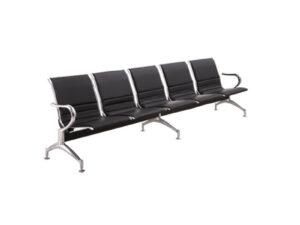 เก้าอี้แถว5ที่นั่ง หุ้มหนังสีดำเต็มตัวเพิ่มความหรูหรา
