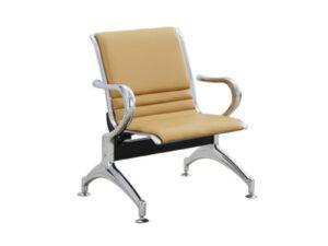 เก้าอี้แถว1ที่นั่ง หุ้มหนังสีครีมเต็มตัว
