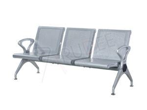เก้าอี้แถวสแตนเลสแบบ3ที่นั่งสีเทา