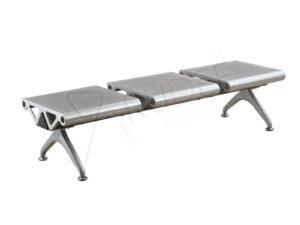 เก้าอี้แถว3ที่นั่งเหล็กไม่มีพนักพิง สีเทาไม่เจาะรู