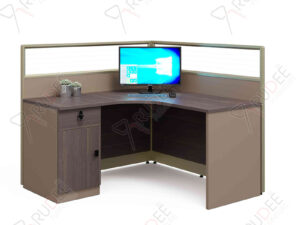 โต๊ะทำงานแบบ1ที่นั่ง1.4m. มีพาร์ทิชั่น ขาเต็ม Mason Series
