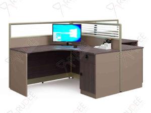 โต๊ะทำงานแบบ2ที่นั่ง2.8m. มีพาร์ทิชั่น ขาเต็ม Mason Series