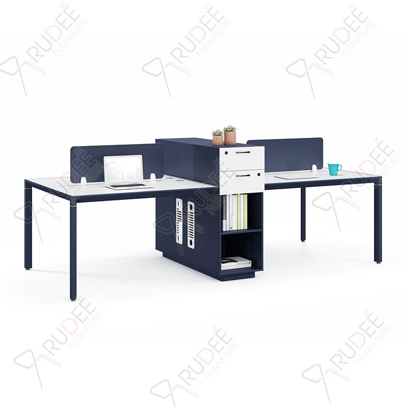 โต๊ะทำงานแบบ4ที่นั่ง2.8m. มีตู้สูง PERFECT Series