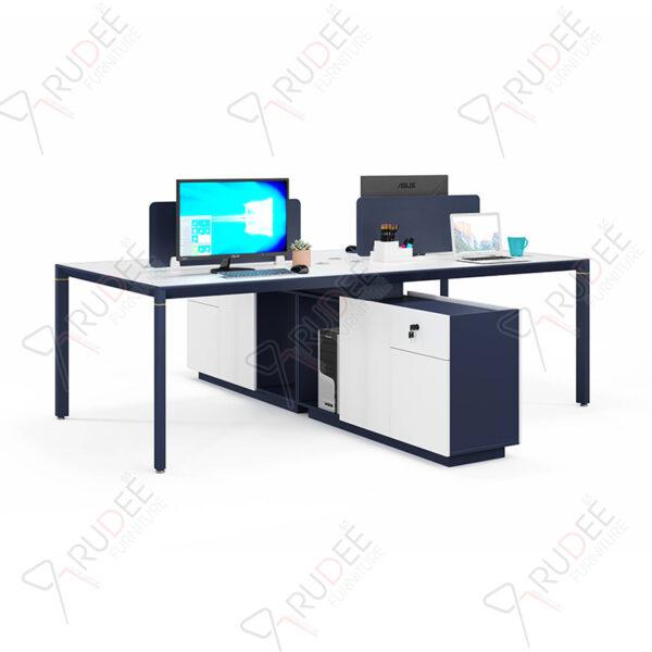 โต๊ะทำงานแบบ4ที่นั่ง2.4m.ตู้ข้างยาว PERFECT Series