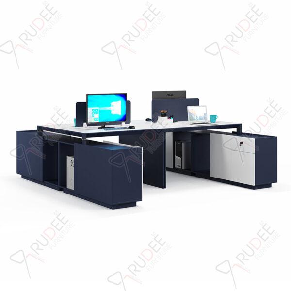 โต๊ะทำงานแบบ4ที่นั่ง2.4m.ตู้ข้างยาวคู่ PERFECT Series