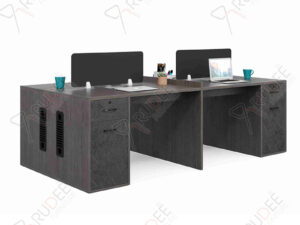 โต๊ะทำงานออฟฟิต4ที่นั่ง มีพาร์ทิชั่น 2.4m. Rhythm Series