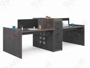 โต๊ะทำงานออฟฟิต4ที่นั่ง ตู้ข้างสูง 2.8m. Rhythm Series
