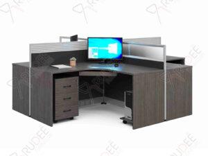 โต๊ะทำงานออฟฟิต4ที่นั่งแบบเข้ามุม Rhythm Series