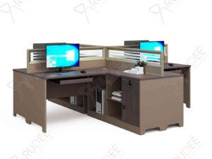 โต๊ะทำงานแบบ4ที่นั่ง2.8m. ตู้ข้างยาว Mason Series