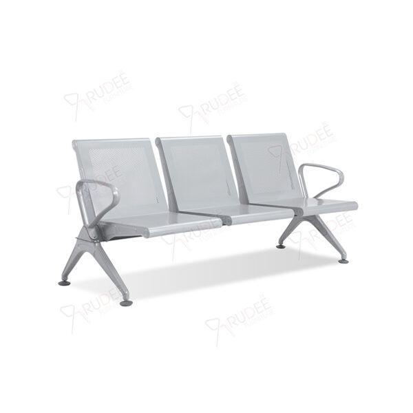 เก้าอี้สาธารณะเหล็ก3ที่นั่ง สีเทา