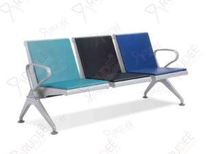 เก้าอี้สาธารณะเหล็กสีเทา 3ที่นั่ง หุ้มเบาะหนัง