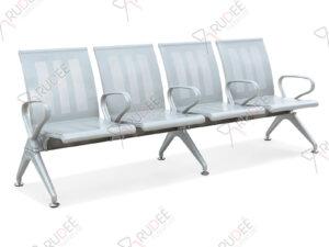 เก้าอี้สาธารณะเหล็ก4ที่นั่ง สีเทา