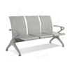 เก้าอี้สาธารณะเหล็ก3ที่นั่ง สีเทา พนักแขนมีที่วางแขน