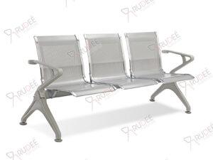 เก้าอี้สาธารณะเหล็ก3ที่นั่ง โครงสีเทา
