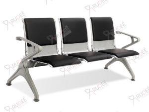 เก้าอี้สาธารณะเหล็ก3ที่นั่ง โครงสีเทา เบาะหุ้มหนัง
