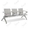 เก้าอี้สาธารณะเหล็ก3ที่นั่ง โครงสีเทา เพิ่มพนักแขนกลาง