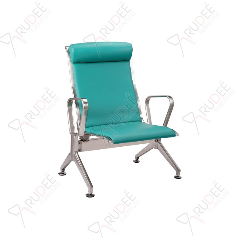 เก้าอี้สแตนเลส1ที่นั่ง หุ้มเบาะหนังพนังพิงสูง