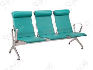 เก้าอี้สแตนเลส3ที่นั่ง หุ้มเบาะหนังพนังพิงสูง