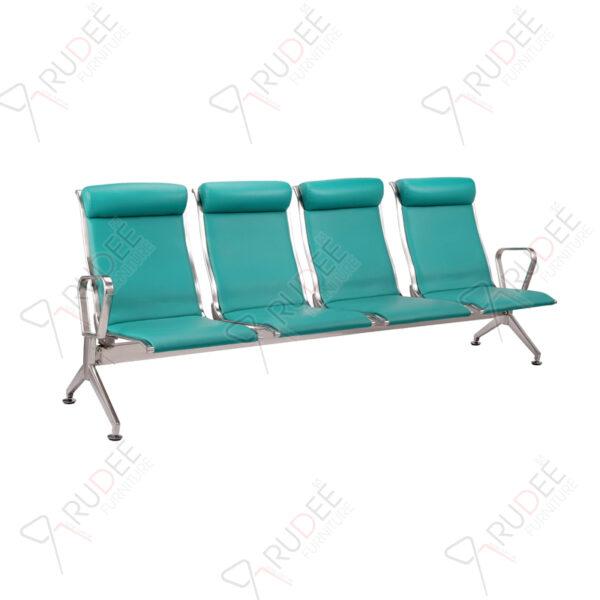 เก้าอี้สแตนเลส4ที่นั่ง หุ้มเบาะหนังพนังพิงสูง