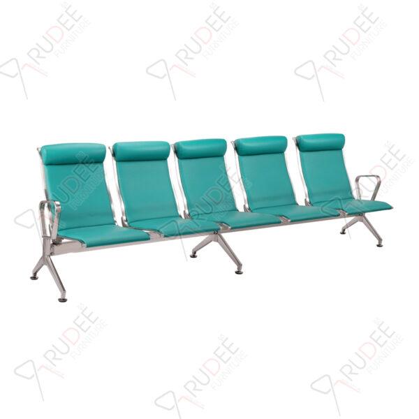 เก้าอี้สแตนเลส5ที่นั่ง หุ้มเบาะหนังพนังพิงสูง