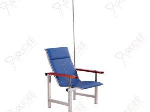 เก้าอี้แถวสแตนเลสหุ้มเบาะหนังรุ่น1ที่นั่ง+เสาน้ำเกลือ