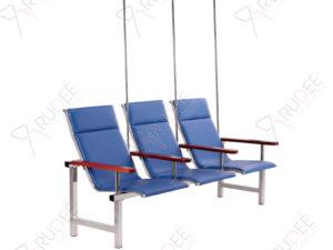 เก้าอี้แถวสแตนเลสหุ้มเบาะหนังรุ่น3ที่นั่ง+เสาน้ำเกลือ