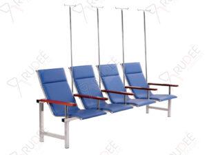 เก้าอี้แถวสแตนเลสหุ้มเบาะหนังรุ่น4ที่นั่ง+เสาน้ำเกลือ