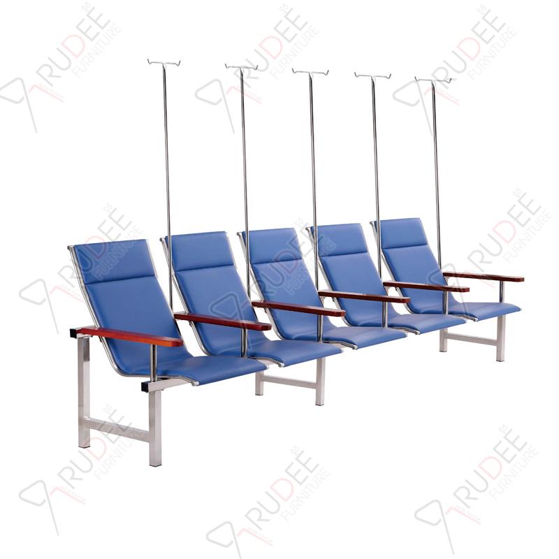 เก้าอี้แถวสแตนเลสหุ้มเบาะหนังรุ่น5ที่นั่ง+เสาน้ำเกลือ