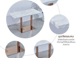 รายละเอียดโต๊ะหินอ่อนขาสแตนเลสทอง หน้าท็อป1.2ม.