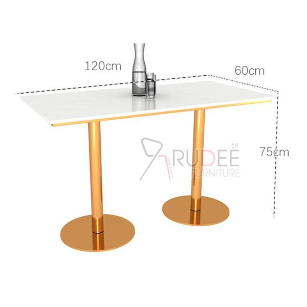 ชุดโต๊ะหิน1.2ม.ขาคู่สแตนเลส gold