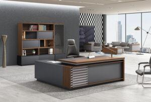 โต๊ะผู้จัดการ ทรงตัวLข้างทึบ ขนาด2.2/2.0ม. by Shalott Series90*75cm