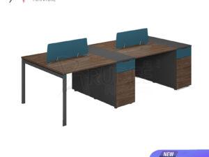 โต๊ะทำงาน4ที่นั่ง แบบกลุ่ม2.4เมตร ตู้ตั้ง Working Desk by Muki Series