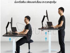 โต๊ะปรับระดับเพื่อสุขภาพระบบมอเตอร์ไฟฟ้า ท่าทางทำงานพอดีสรีระ ลดปัญหาอาการออฟฟิศซินโดรม