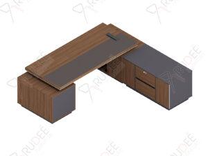 โต๊ะผู้จัดการ ทรงตัวLข้างทึบ ขนาด2.4/2.2ม. by Shalott Series