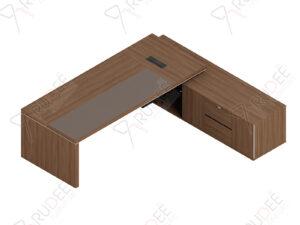 โต๊ะผู้จัดการ ทรงตัวLข้างทึบ ขนาด2.6/2.4ม. by Shalott Series