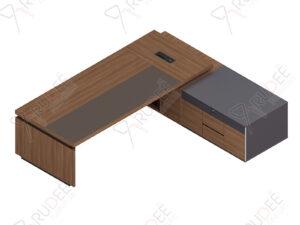 โต๊ะผู้จัดการ ทรงตัวLข้างทึบ ขนาด2.8/2.6ม. by Shalott Series