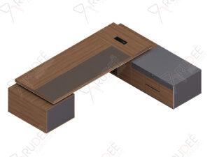 โต๊ะผู้จัดการ ทรงตัวLข้างทึบ ขนาด3.2/3.0ม. by Shalott Series