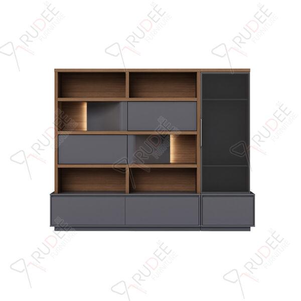 ตู้เอกสารกลาง ชั้นวางตกแต่ง มีที่เก็บสูท ขนาด2.3ม. Document Cabinet by Shalott Series