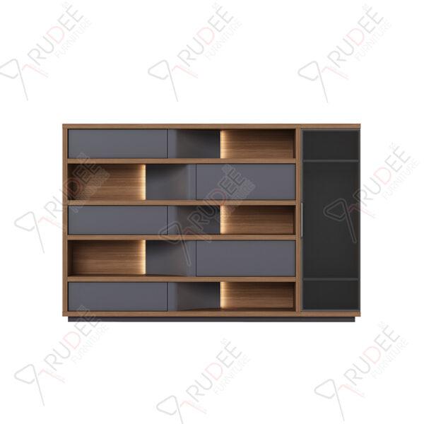 ตู้เอกสารกลาง ชั้นวางตกแต่ง มีที่เก็บสูท ขนาด2.9ม. Document Cabinet by Shalott Series