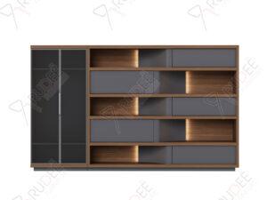 ตู้เอกสารกลาง ชั้นวางตกแต่ง มีที่เก็บสูท ขนาด3.4ม. Document Cabinet by Shalott Series