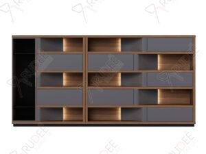 ตู้เอกสารกลาง ชั้นวางตกแต่ง มีที่เก็บสูท ขนาด4.0ม. Document Cabinet by Shalott Series