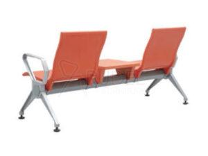 เก้าอี้สาธารณะ เก้าอี้แถว เบาะPU 2ที่นั่ง เพิ่มที่วางของPU สีส้ม