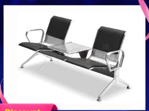 เก้าอี้สแตนเลส2ที่นั่งหุ้มเบาะหนัง มีที่วางแก้วตรงกลาง