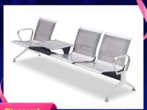 เก้าอี้สแตนเลส3ที่นั่ง มีที่วางแก้วตรงกลาง
