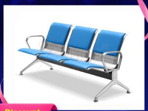 เก้าอี้สแตนเลส3ที่นั่งหุ้มเบาะหนังเต็ม