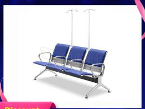 เก้าอี้สแตนเลส3ที่นั่งหุ้มเบาะหนัง มีที่แขวนน้ำเกลือ เพิ่มวางแขนกลาง