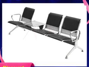 เก้าอี้สแตนเลส3ที่นั่งหุ้มเบาะหนัง มีที่วางแก้วตรงกลาง